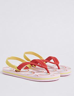 Kids' Rainbow Flip-flops (5 Small - 12 Small), PINK MIX, catlanding