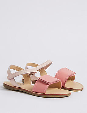 Kids' Coated Leather Riptape Sandals (5 Small - 12 Small), PINK MIX, catlanding