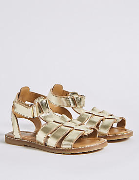 Kids' Leather Sandals (5 Small - 12 Small), GOLD, catlanding