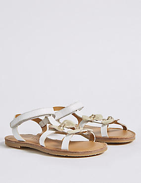 Kids' Leather Sandals (5 Small - 12 Small), WHITE MIX, catlanding