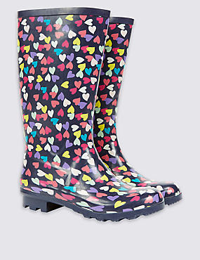 Kids' Heart Print Wellington Boots