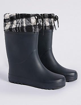 Kids' Knitted Cuff Welly Boots