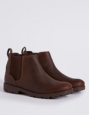 Kids' Leather Pull-on Ankle Boots