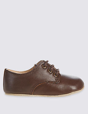 Kids' Leather Lace-up T-Bar Shoes