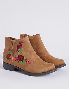 Kids' Embroidered Ankle Boots