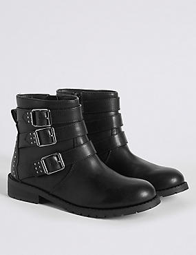 Kids' Buckle Biker Ankle Boots