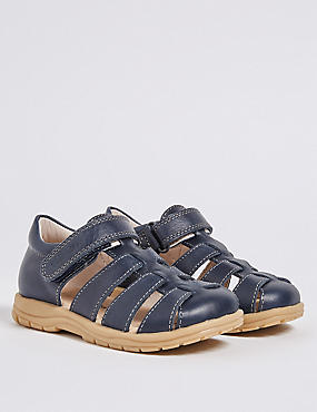 Kids' Leather Riptape Walkmates™ Sandals, NAVY MIX, catlanding
