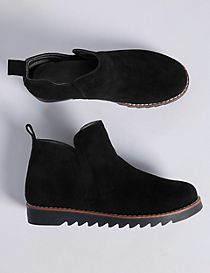 Kids' Suede Pull-on Ankle Boots