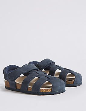 Kids' Suede Riptape Fisherman Sandals (5 Small - 12 Small), NAVY, catlanding