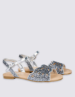 Kids' Faux Leather Laser Glitter Sandals