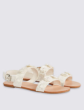 Kids' Sequin Flower Buckle Cross Bar Sandals