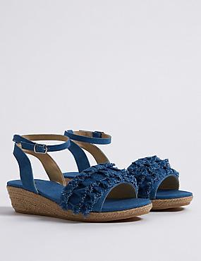 Kids' Wedge Sandals (13 Small - 6 Large), MED BLUE DENIM, catlanding