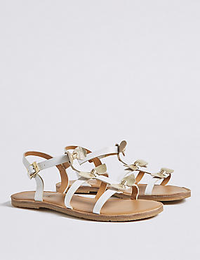 Kids' Leather Bow Sandals (13 Small - 6 Large), WHITE MIX, catlanding
