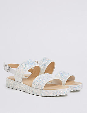 Kids' Glitter Chunky Sandals (13 Small - 6 Large), WHITE MIX, catlanding