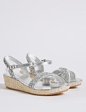 Kids' Wedge Sandals (13 Small - 6 Large), SILVER, catlanding