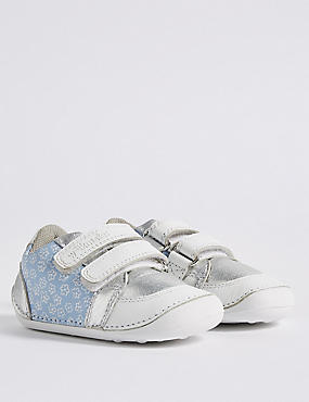 Kids' Leather Pre Walker Trainers (2 Small - 5 Small), PINK MIX, catlanding