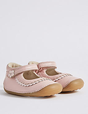 Kids' Leather Pre Walker Cross Bar Shoes (2 Small - 5 Small), PINK MIX, catlanding