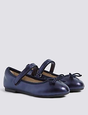 Kids' Metallic Ballet Shoes (5 Small - 12 Small), NAVY, catlanding