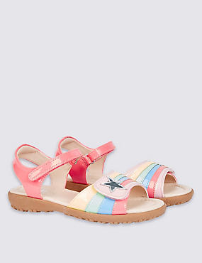 Kids' Faux Leather Cross Bar Sandals