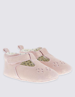 Kids' Sparkle Suede T-Bar Shoes
