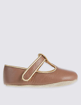Kids' Leather Riptape T-Bar Shoes