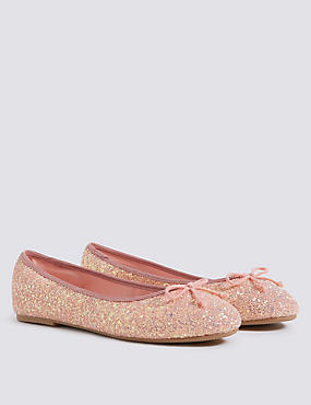 Kids' Glitter Bow Ballerina Shoes (5 Small - 6 Large)