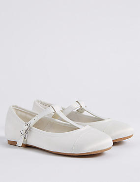 Kids' T-Bar Bridesmaids Shoes (5 Small - 6 Large) , IVORY, catlanding