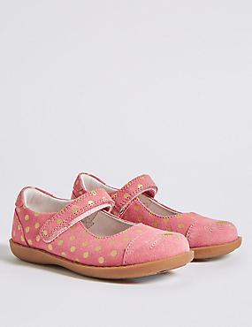 Kids' Suede Cross Bar Shoes (5 Small - 12 Small), PINK MIX, catlanding