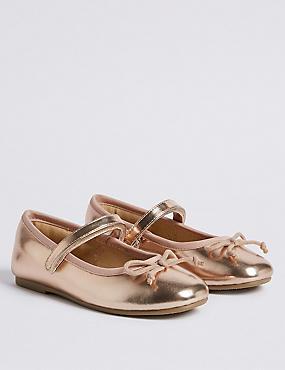 Kids' Metallic Ballet Shoes (5 Small - 12 Small), ROSE, catlanding
