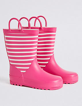Kids' Striped Wellies (5 Small - 12 Small), PINK, catlanding