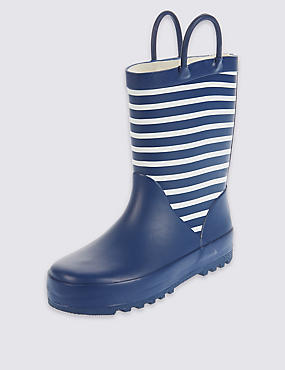 Kids' Reflective Striped Wellies (5 Small - 12 Small), NAVY, catlanding