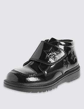 Kids' Freshfeet™ Coated Leather Patent Ankle Boots with Silver Technology