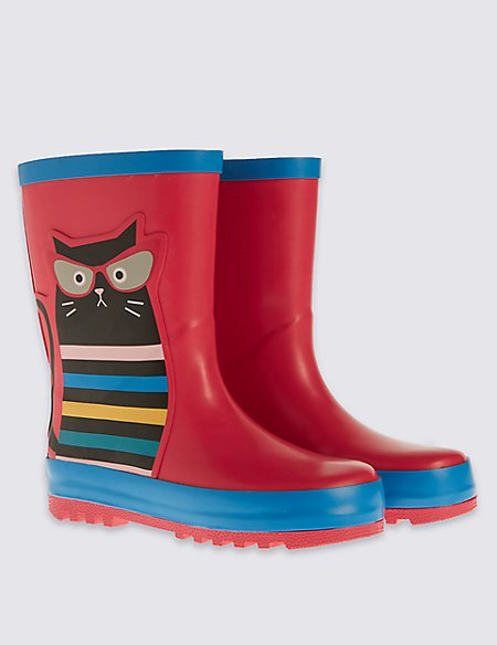 Kids Cat Wellington Boots