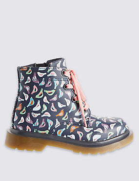Kids Printed Leather Boots
