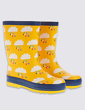 Kids' Cloud Print Wellington Boots