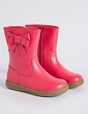 Kids' Leather Bow Mid-calf Boots (6 Small - 12 Small), HOT PINK, catlanding