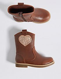 Kids' Heart Embellished Mid-calf Boots