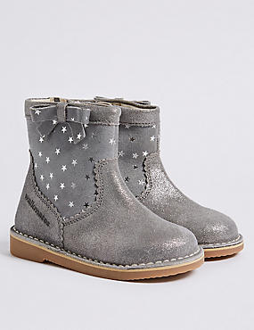 Kids' Leather Ankle Boots (4 Small - 11 Small), PEWTER, catlanding