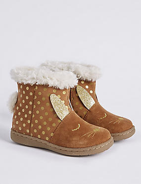 Kids' Suede Water Repellent Novelty Boots (6 Small - 12 Small), TAN, catlanding