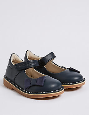 Kids' Leather Cross Bar Shoes (4 Small - 11 Small), NAVY, catlanding