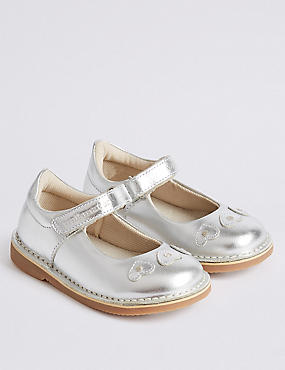 Kids' Leather Cross Bar Shoes (4 Small - 11 Small), SILVER, catlanding