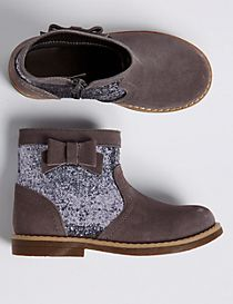 Kids' Glitter Bow Ankle Boots