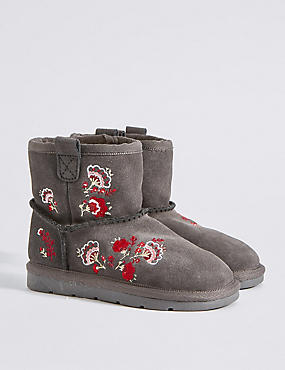 Kids' Suede Embroidered Ankle Boots