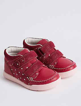 Kids' Leather Walkmates™ Fashion Trainers (4 Small - 11 Small), BERRY, catlanding