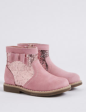 Kids' Sparkle Bow Ankle Boots