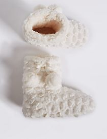 Kids' Faux Fur Christmas Slipper Boots