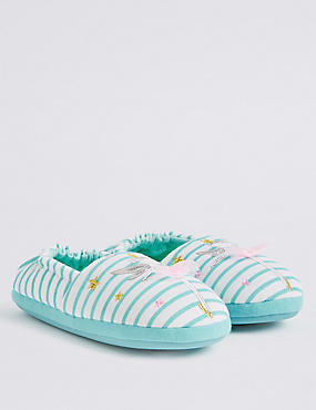 Kids' Fairy Striped Slippers, MULTI, catlanding