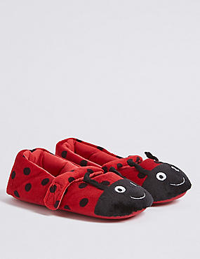 Kids' Riptape Ladybird Slippers (5 Small - 12 Small)