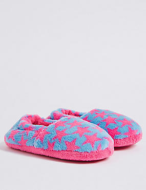 Kids' Star Print Slippers, PINK MIX, catlanding