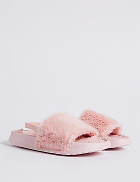 Kids' Faux Fur Slippers, PINK MIX, catlanding
